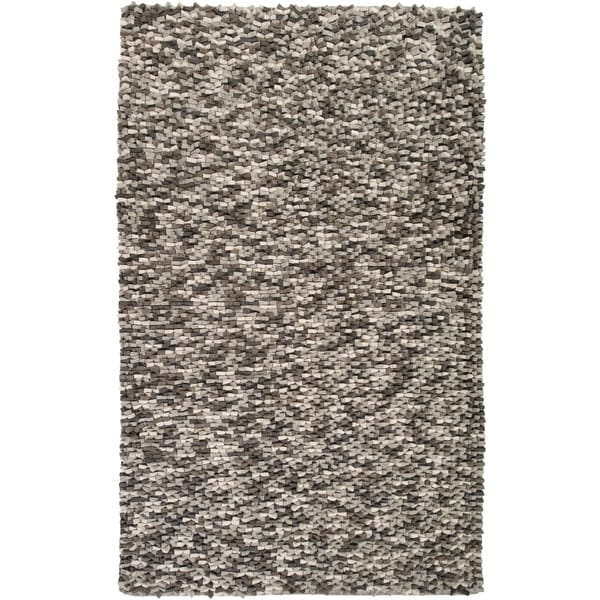 Hand-woven White Galilei New Zealand Wool Plush Textured Area Rug - 5' x 8'