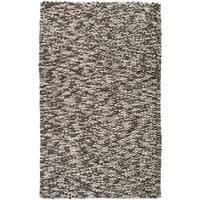 Hand-woven White Galilei New Zealand Wool Plush Textured Area Rug - 5' x 8'
