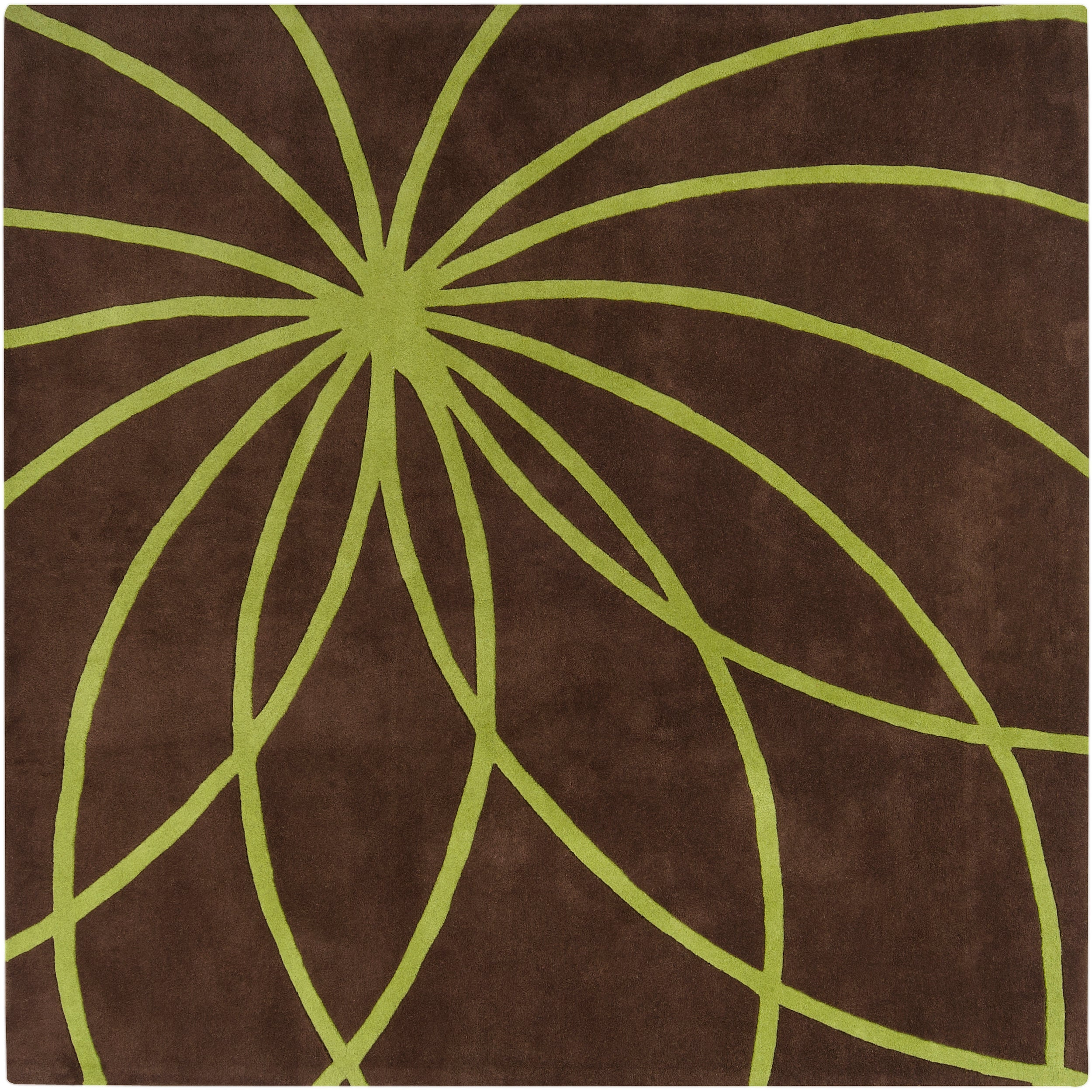 Hand-tufted Contemporary Brown/Green Zhores Wool Abstract Rug (6' Square)