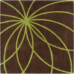 Hand-tufted Contemporary Brown/Green Zhores Wool Abstract Rug (9'9 Square)
