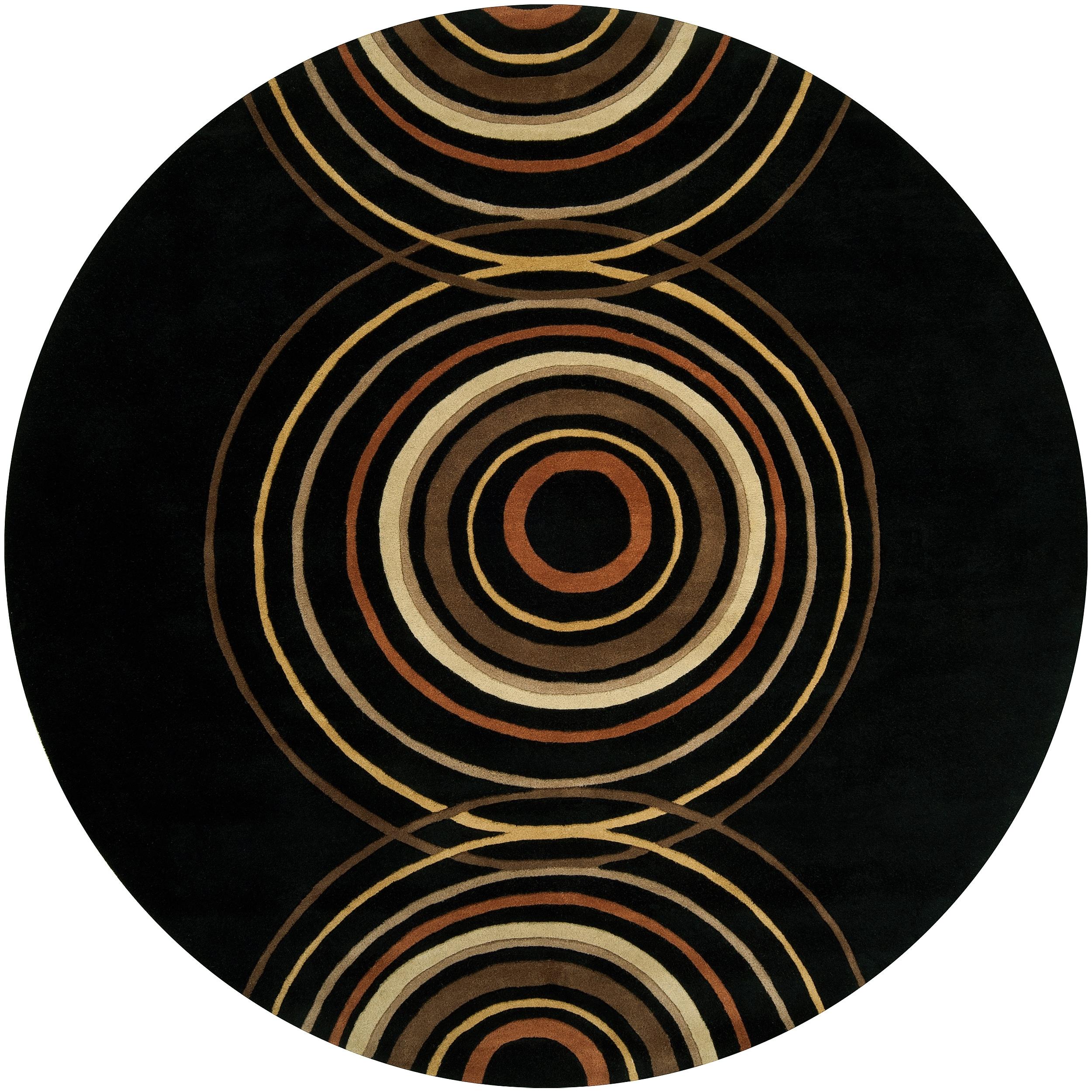 Hand-tufted Black Contemporary Circles Vasily Wool Geometric Rug (6' Round)