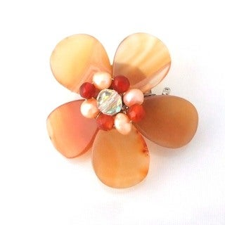 Handmade Orange Agate Floral Purity Pearl Pin-Brooch (Thailand)