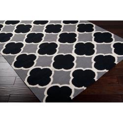 Hand-woven Grey Wool Bohlin Reversible Rug (8' x 11') - Thumbnail 1