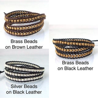 Sublime Metallic Round Beads Triple Wrap Leather Bracelet (Thailand)