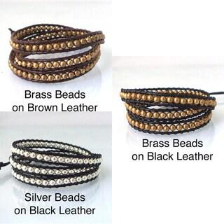 Handmade Sublime Metallic Round Beads Triple Wrap Leather Bracelet (Thailand)