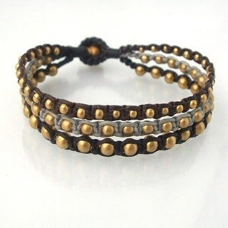 Handmade Majestic Brass Beads Cotton Rope Three Strand Bracelet (Thailand) (More options available)