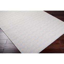 Hand-woven Blue Wool Benardos Rug (3'6 x 5'6) - Thumbnail 1
