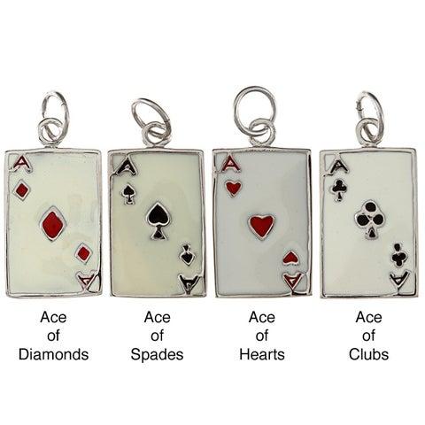 La Preciosa Sterling Silver Enamel Ace Playing Card Charm