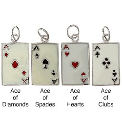 La Preciosa Sterling Silver Enamel Ace Playing Card Charm (4 options available)