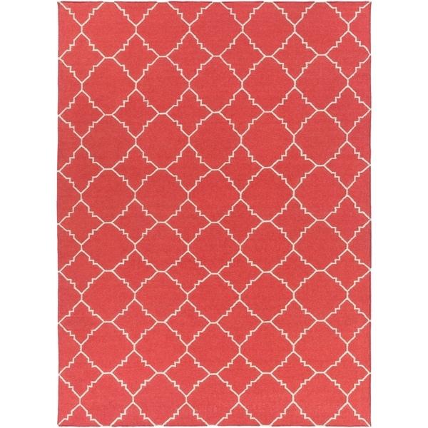 Hand-woven Red Wool Biro Area Rug - 8' X 11'
