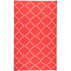 Hand-woven Red Wool Biro Area Rug (5' x 8') - Thumbnail 0
