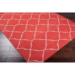 Hand-woven Red Wool Biro Rug (3'6 x 5'6) - Thumbnail 1