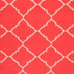 Hand-woven Red Wool Biro Rug (3'6 x 5'6) - Thumbnail 2