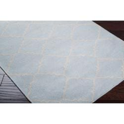 Hand-woven Blue Wool Baylis Rug (8' x 11') - Thumbnail 1