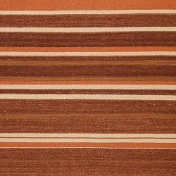 Hand-woven Brown Wool Beaux Rug (3'6 x 5'6) - Thumbnail 2