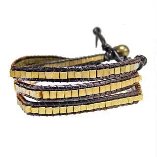 Handmade Fashion Brass Squares Leather Triple Wrap Bracelet (Thailand)