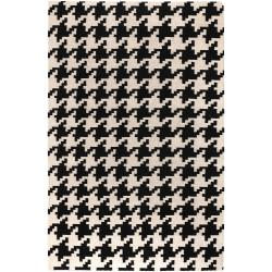 Hand-woven White Wool Barmin Rug (3'6 x 5'6)