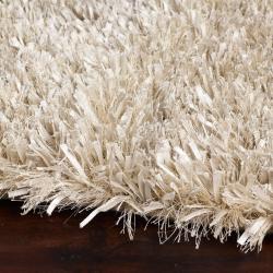 Hand-woven White Polyester Logie Rug (5' x 8') - Thumbnail 2