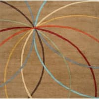 Hand-tufted Brown Contemporary Argand Wool Abstract Area Rug - 8' x 8'