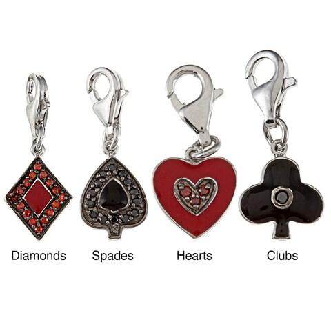 La Preciosa Sterling Silver Enamel and CZ Reversible Card Suit Charm