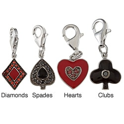 La Preciosa Sterling Silver Enamel and CZ Reversible Card Suit Charm
