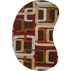 Hand-tufted Brown Contemporary Multi Colored Square Gehrig Wool Geometric Rug (6' x 9' Kidney)