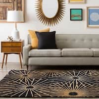 Hand-tufted Brown Contemporary Genrich Wool Abstract Area Rug - 6' Square