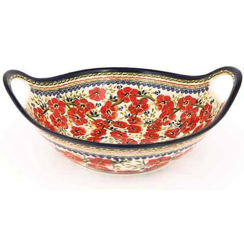 Handmade Polish Stoneware Pottery 13.5-inch Handled Serving Bowl (Poland)