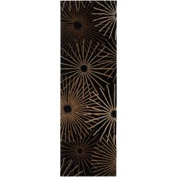 Hand-tufted Brown Contemporary Genrich Wool Abstract Rug (2'6 x 8')