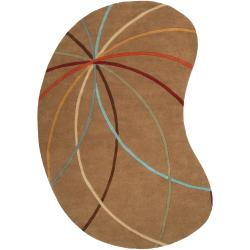 Hand-tufted Tan Contemporary Argand Wool Abstract Rug (6' x 9' Kidney)