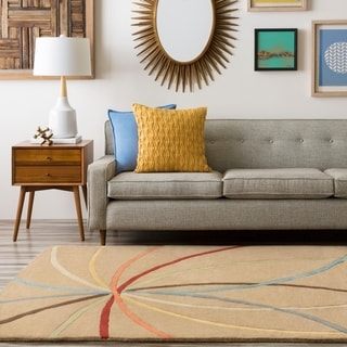 Hand-tufted Brown Contemporary Argand Wool Abstract Rug (12' x 15')