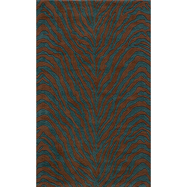 Power-Loomed Bengal Teal Rug (5' x 8')