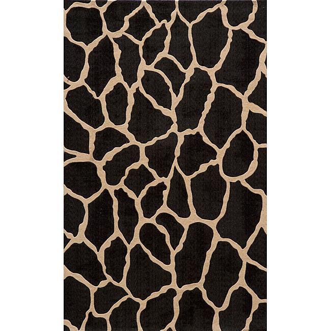 Power-Loomed Giraffe Charcoal Rug (5' x 8')