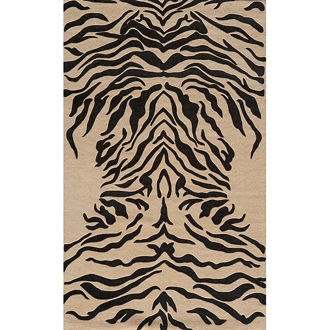 Power-Loomed Zebra Charcoal Rug (8' x 10')