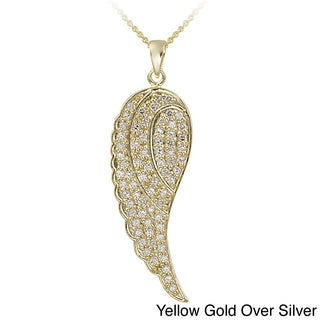 Icz Stonez 18k Gold Overlay/Sterling Silver 1 5/8ct TGW CZAngel Wing Necklace