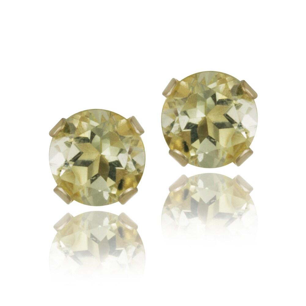 Glitzy Rocks 14 karat Yellow Gold 1/2ct TGW 4mm Lime Quartz Stud Earrings