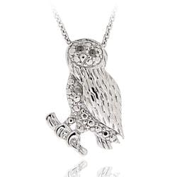 DB Designs Sterling Silver Diamond Accent Owl Necklace