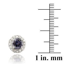 Icz Stonez Sterling Silver Tanzanite Cubic Zirconia Stud Earrings (3.34ct TGW)