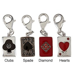 La Preciosa Sterling Silver Enamel and CZ Reversible Card Suit Charm (4 options available)