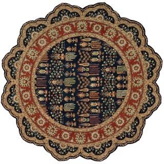 Nourison Hand-tufted Heritage Hall Navy Wool Rug (6' x 6')