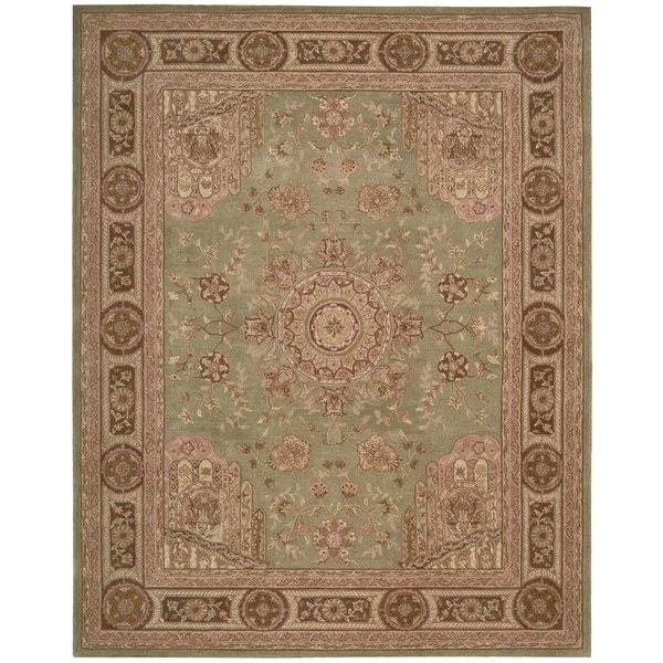 "Nourison Hand-tufted Heritage Hall Green Wool Rug - 5'6"" x 8'6"""