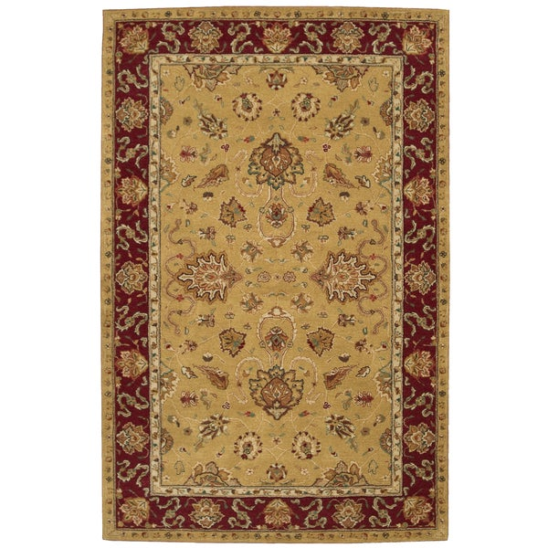"""Nourison Hand-tufted Heritage Hall Gold Wool Rug - 5'6"""" x 8'6"""""""