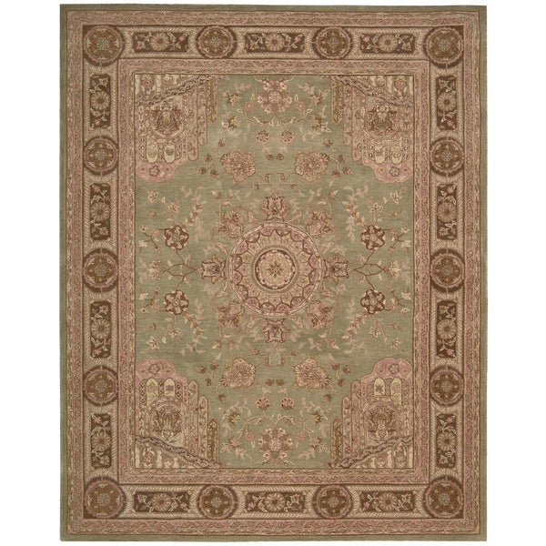 Nourison Hand-tufted Heritage Hall Green Wool Rug (7'9 x 9'9)