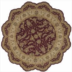 Nourison Hand-tufted Heritage Hall Burgundy Wool Rug (8' Free Form)