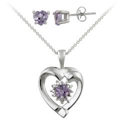 Glitzy Rocks Sterling Silver Diamond Accent And Amethyst Heart Necklace And Stud Earring Set