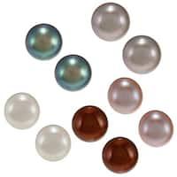 Glitzy Rocks Silver Freshwater Pearl Stud Earrings (5-6 mm) (Set of 5)