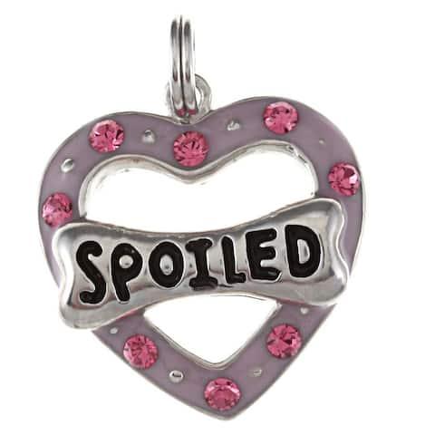 La Preciosa Sterling Silver CZ 'Spoiled' Heart and Dog Bone Charm