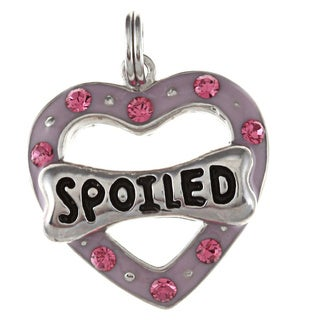 La Preciosa Sterling Silver CZ 'Spoiled' Heart and Dog Bone Charm