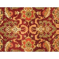 Hand Knotted Maharaja Finest Red Wool Rug (6' x 9') - Thumbnail 2