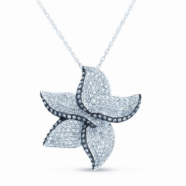 Eloquence 14k White Gold 1 3/4ct TDW Diamond Floral Necklace (G-H, SI1-SI2)